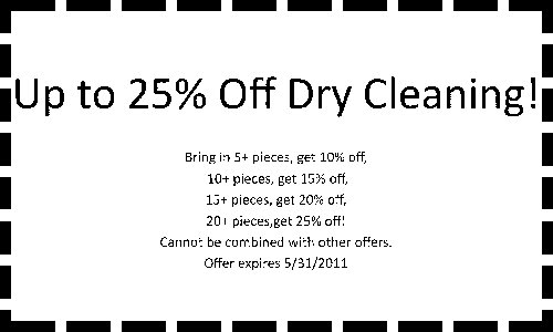 Oxford Laundry May Promotion- up to 25% off Dry Cleaning